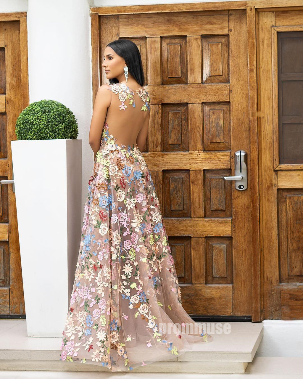Seen Through Unique Flowers Applique Long Prom Dresses SPE120
