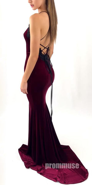 Burgundy Mermaid Sexy Open Back Halter Long Prom Dresses, PM0788