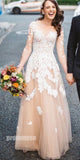 Long Sleeves Formal A Line Tulle Applique Long Evening Prom Dresses, PM1060