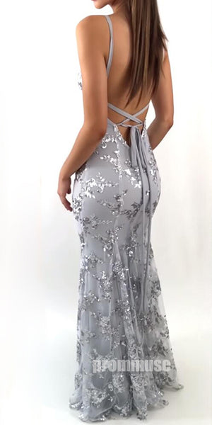 Sexy Mermaid Open Back Unique Formal Long Prom Dresses, PM0785