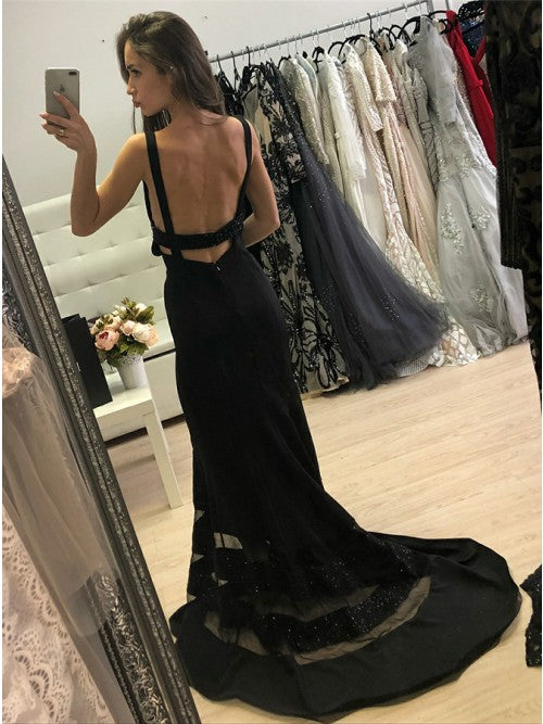 Black Mermaid Open Back Unique Sexy Long Prom Dresses, PM0784 - Prom Muse