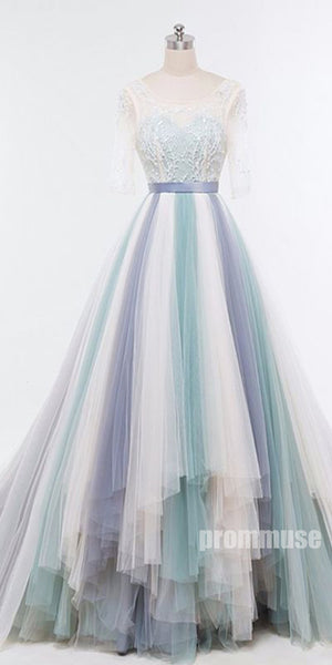 Affordable Charming Half Sleeves Gorgeous Long Prom Dresses, PM0790