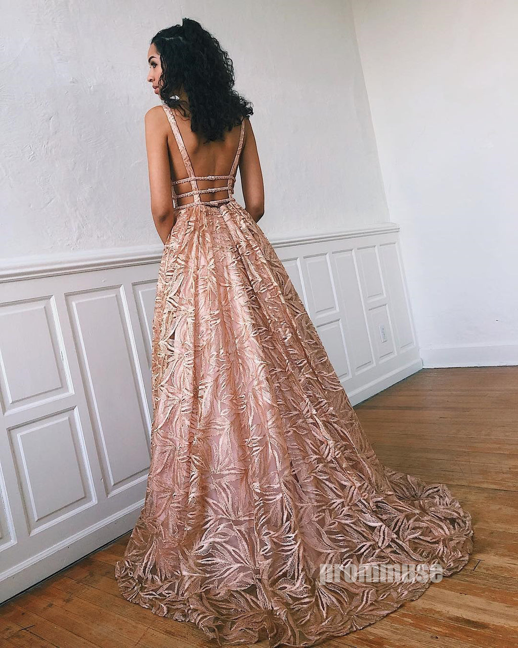 Unique Lace Open Back A Line V Neck Long Prom Dresses SPE116