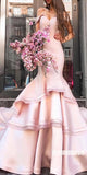Off the Shoulder Pink Mermaid Long Prom Dresses SPE127