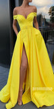 Off the Shoulder Side Slit Yellow Sweetheart A Line Long Prom Dresses SPE139