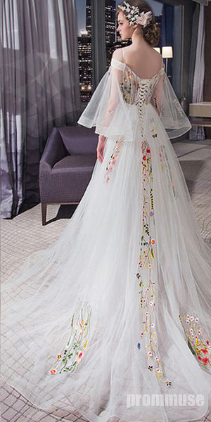 Charming Unique Off the Shoulder Long Sleeves Lace Up Long Prom Dresses, PM0793