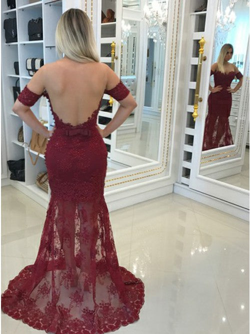 Burgundy Lace Mermaid See Through Back Sexy Evening Long Prom Dresses, PM0251 - Prom Muse