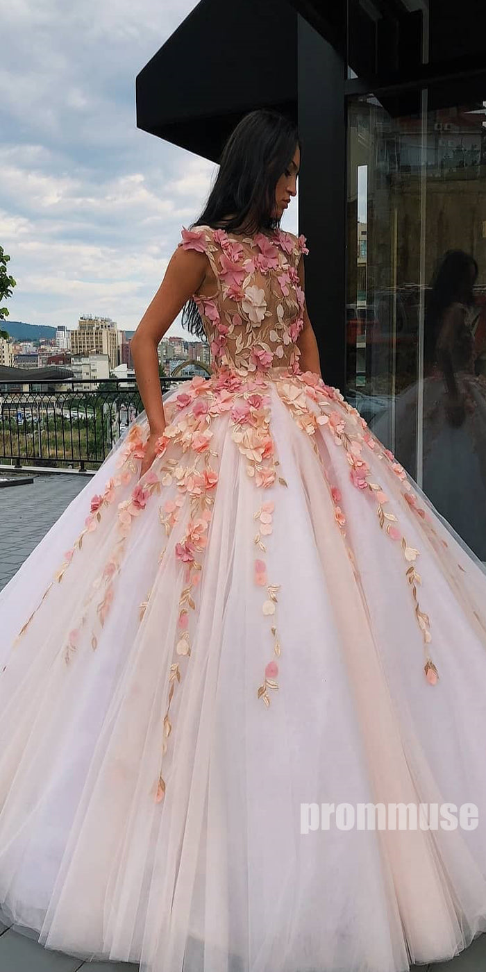 Cap Sleeves Tulle Applique Long Prom Dresses Ball Gown SPE130