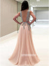 Beaded Deep V Neck Side Split Evening Long Prom Dresses, PM1005