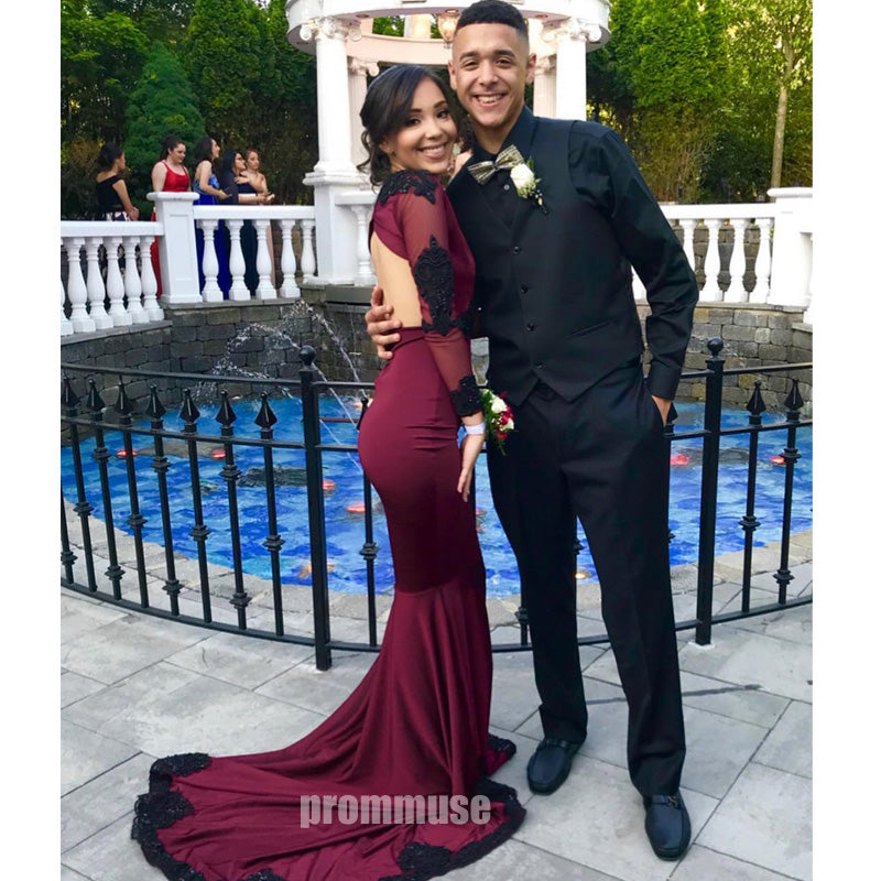 Long Sleeves V Neck Open Back Mermaid Burgundy Long Prom Dresses SPE113