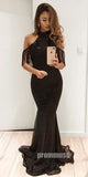 Black Mermaid Halter Sexy Sparkle Long Prom Dresses SPE132