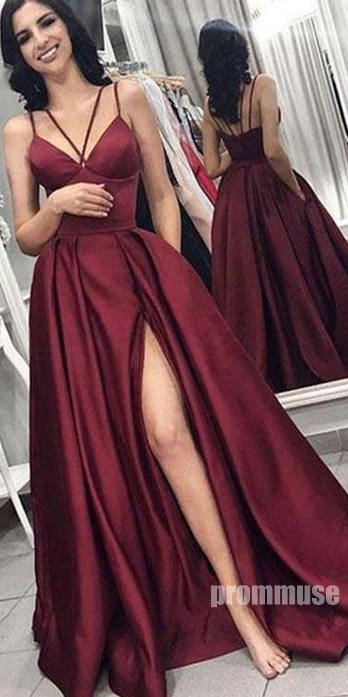 Burgundy Side Slit A Line Formal Cheap Long Prom Dresses SPE112