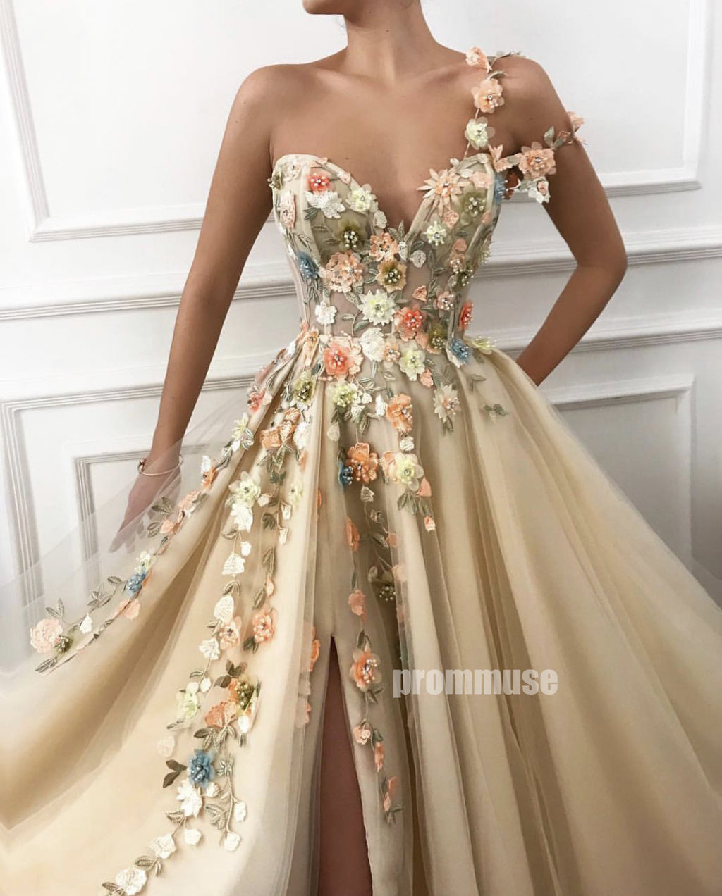 One Shoulder Side Slit Tulle Sweetheart A Line Long Prom Dresses SPE156
