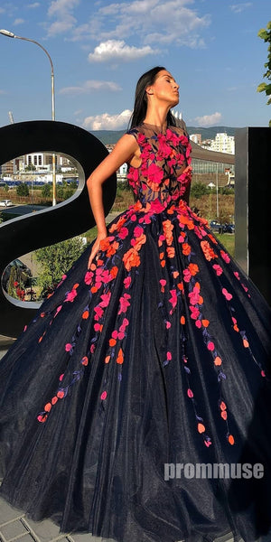 Tulle Applique Elegant Evening Long Prom Dresses Ball Gown SPE131