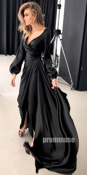 Popular Black Long Sleeves Long Prom Dresses SPE168