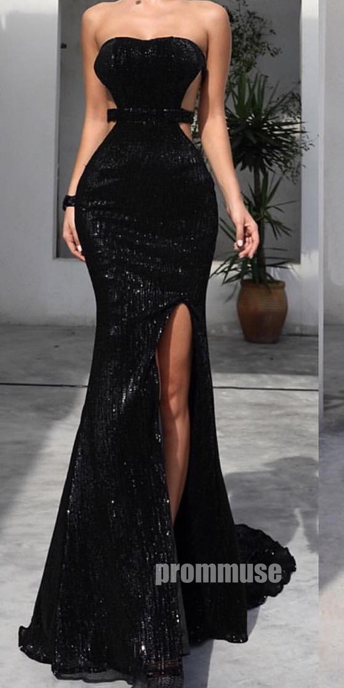 Black Open Back Sexy Side Slit Long Prom Dresses SPE147