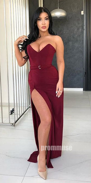 Simple Side Slit Sweetheart Cheap Long Prom Dresses SPE159