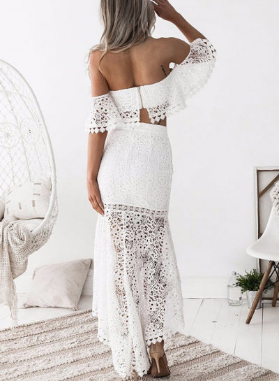 Lovely Lace Off the Shoulder Two Pieces Inexpensive Long Prom Dresses, PT109 - Prom Muse