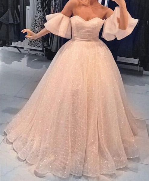 Elegant Off the Shoulder Sweetheart Charming Long Prom Dresses Ball Gown, PT105 - Prom Muse
