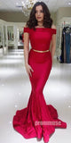 Red Off the Shoulder Mermaid Long Prom Dresses SPE164
