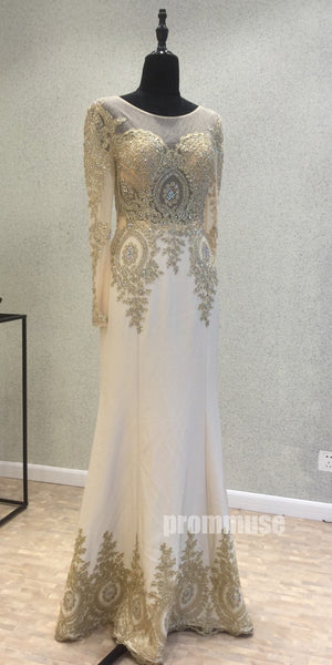 Long Sleeves Elegant Formal Affordable Floor Length Prom Dresses, PM0782