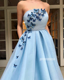 Blue A-line Long Prom Dresses with Butterfly SPE179