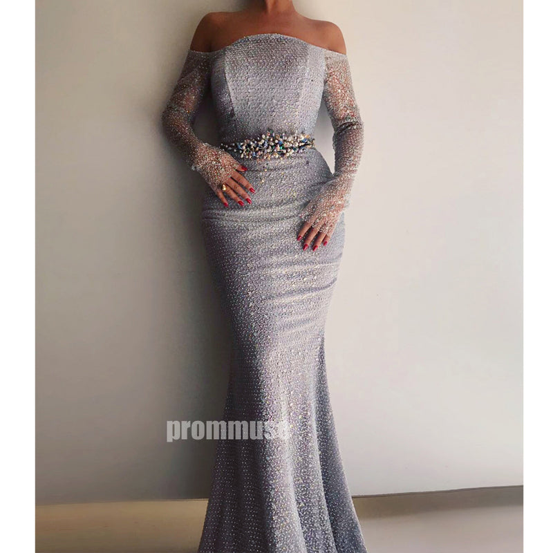 Long Sleeves Off the Shoulder Mermaid Long Prom Dresses SPE181