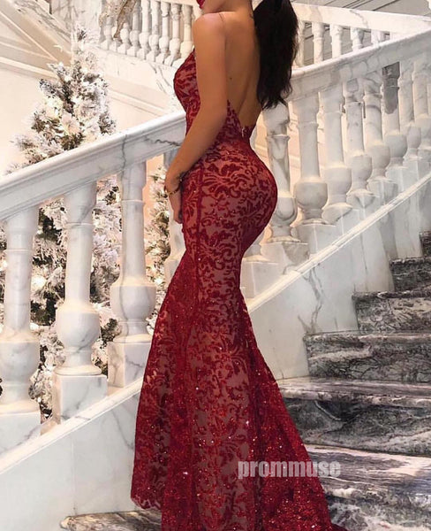 Open Back Lace Sexy Mermaid Long Prom Dresses SPE128