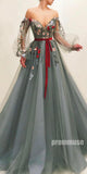 Off the Shoulder Long Sleeves A Line Tulle Long Prom Dresses SPE152