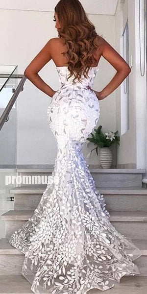 Gorgeous Lace Sweetheart Mermaid Long Prom Dresses SPE149