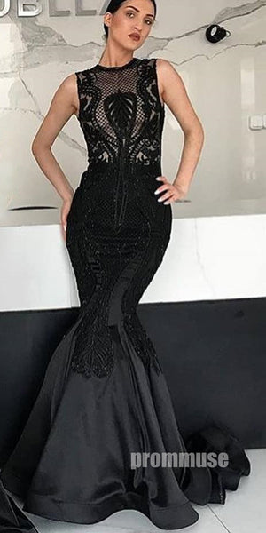 Black Mermaid Lace Satin Mermaid Long Prom Dresses SPE141