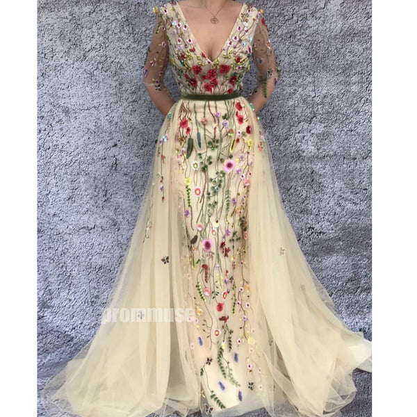 Long Sleeves V-neck Tulle Applique Long Prom Dresses SPE183