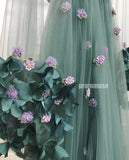 Long Sleeves V Neck Side Slit Tulle A Line Long Prom Dresses SPE154