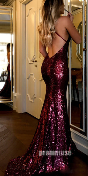 Burgundy Sequin Cheap Shinning Sexy Open Back Long Prom Dresses, PM0783