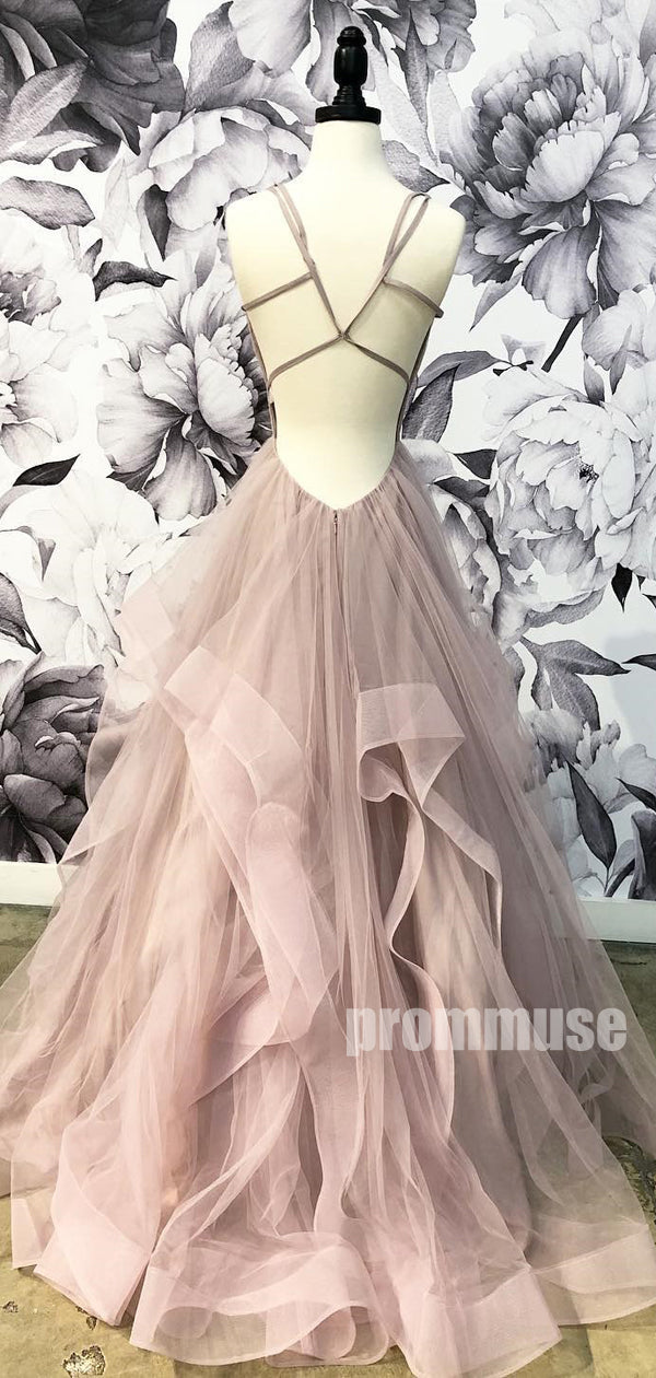 Popular V Neck Tulle A-line Long Prom Dresses SPE173