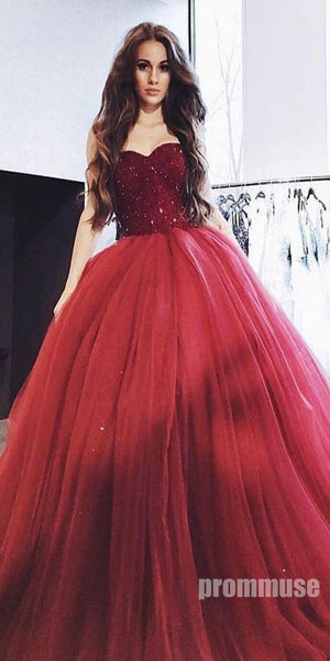 Sweetheart Beaded Top Tulle Long Prom Ball Gown Dresses SPE114
