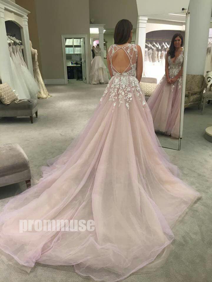 Charming Popular Open Back Pretty Affordable Long Evening Prom Dresses, PM0774