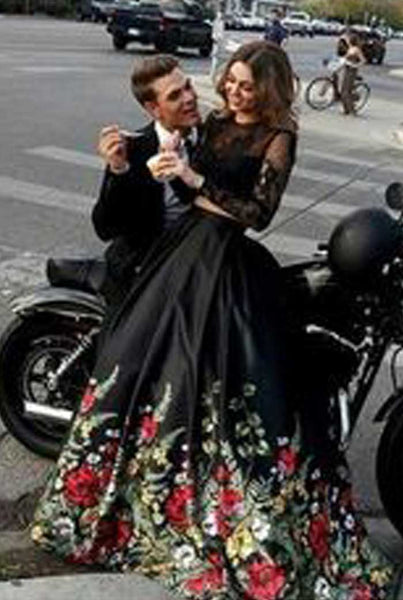 Popular Two Pieces Long Sleeves Open Back Long Prom Dresses with Flowers, PT110 - Prom Muse