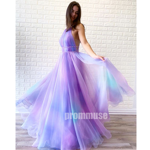 Gradient A-line Pretty Long Prom Dresses SPE184