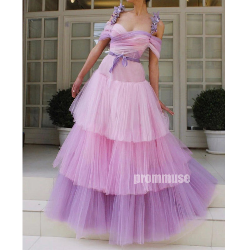 Unique Gradient Tulle Sweetheart Long Prom Dresses SPE175