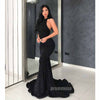 Black Halter Open Back Mermaid Long Prom Dresses SPE170