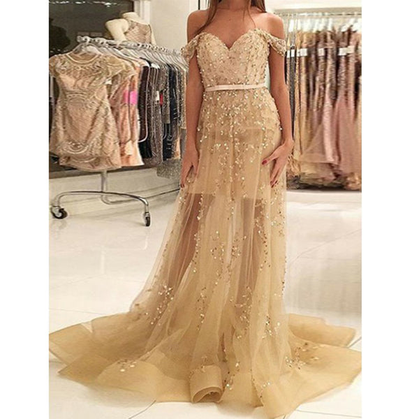 Off the Shoulder Sweetheart Beaded Evening Long Prom Dresses, PM0127 - Prom Muse