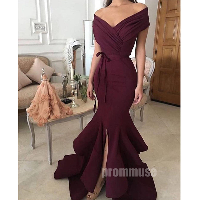 Off the Shoulder Side Slit Mermaid Long Prom Dresses SPE151
