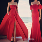 Red Simple Elegant Long Cheap Popular Prom Dresses SPE115