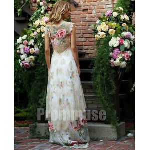 Cap Sleeves Charming Seen Through Back Evening Long Prom Dresses, PM0805 - Prom Muse