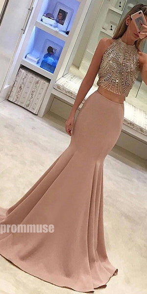 2 Pieces Beaded Top Mermaid Popular Inexpensive Long Prom Dresses, PM1015