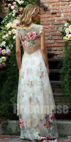 Cap Sleeves Charming Seen Through Back Evening Long Prom Dresses, PM0805