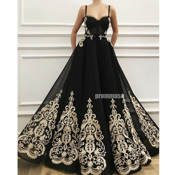 Black Unique Applique Sweetheart A Line Long Prom Dresses SPE153
