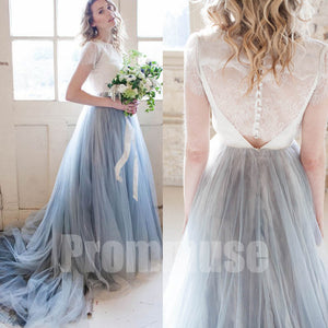 Charming Short Sleeves Lace Tulle Evening Long Prom Dresses, PM0803 - Prom Muse