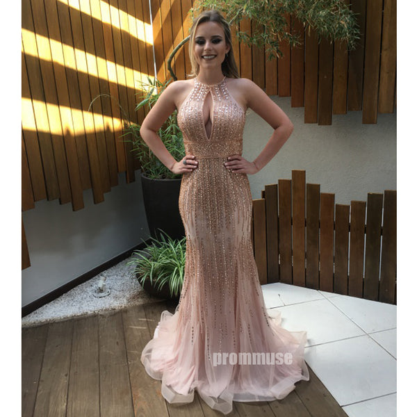 Beaded Mermaid Backless Sexy Evening Party Long Prom Dresses, PM1013